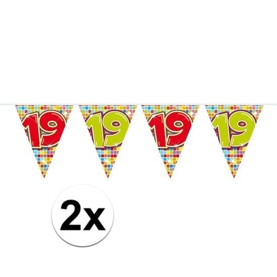 Bestel 2x Mini Vlaggenlijn Slinger Verjaardag Versiering 19 Jaar