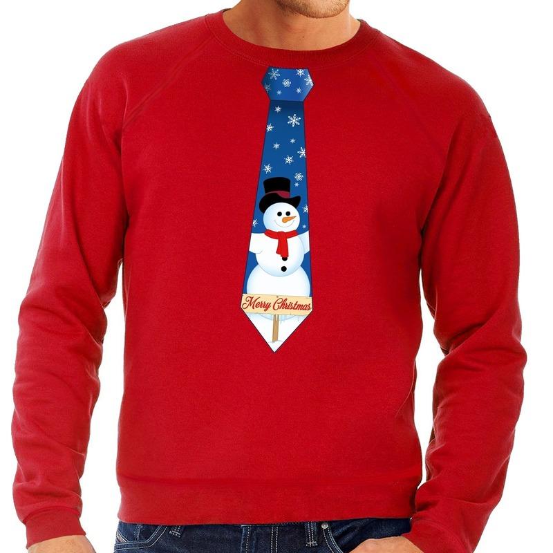 Kersttrui Dames Sneeuwpop.Bestel Foute Kersttrui Stropdas Met Sneeuwpop Print Rood Voor Heren