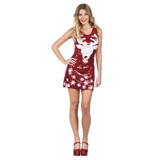 ca9d934214cbc4 Bestel Rood glitter kerstjurkje met rendier in de winter winkel