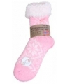 Gevoerde anti-slip huissokken roze