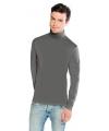 Luxe col t-shirt lichtgrijs voor heren