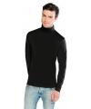 Luxe zwarte col t-shirt voor heren