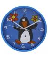 Wandklok pinguin 23 cm blauw