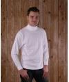 Wit t-shirt met col en lange mouw heren